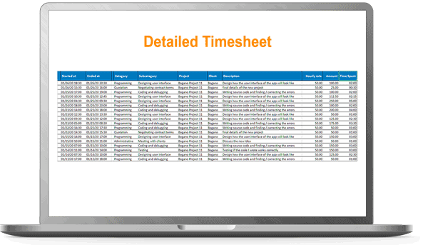 detailed timesheet
